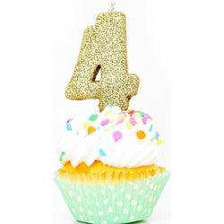 "3"" Gold Number 4 Candle, Glitter Candles, Jamboree Party Box, Jamboree"