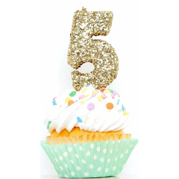 "3"" Gold Number 5 Candle, Glitter Candles, Jamboree Party Box, Jamboree"