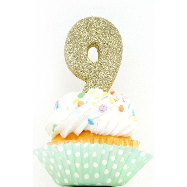"3"" Gold Number 9 Candle, Glitter Candles, Jamboree Party Box, Jamboree"
