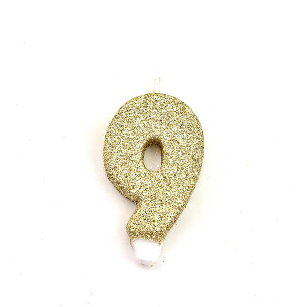 "3"" Gold Number 9 Candle, Glitter Candles, Jamboree"