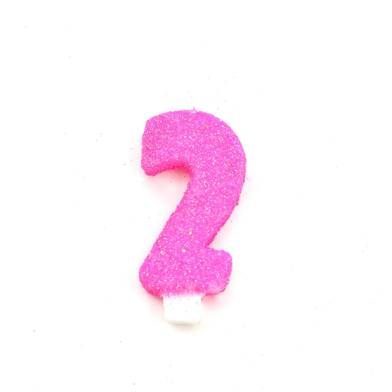 3 Hot Pink Number 2 Candle Glitter Candles Jamboree Party Box