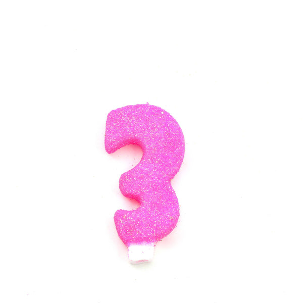 "3"" Hot Pink Number 3 Candle, Glitter Candles, Jamboree"