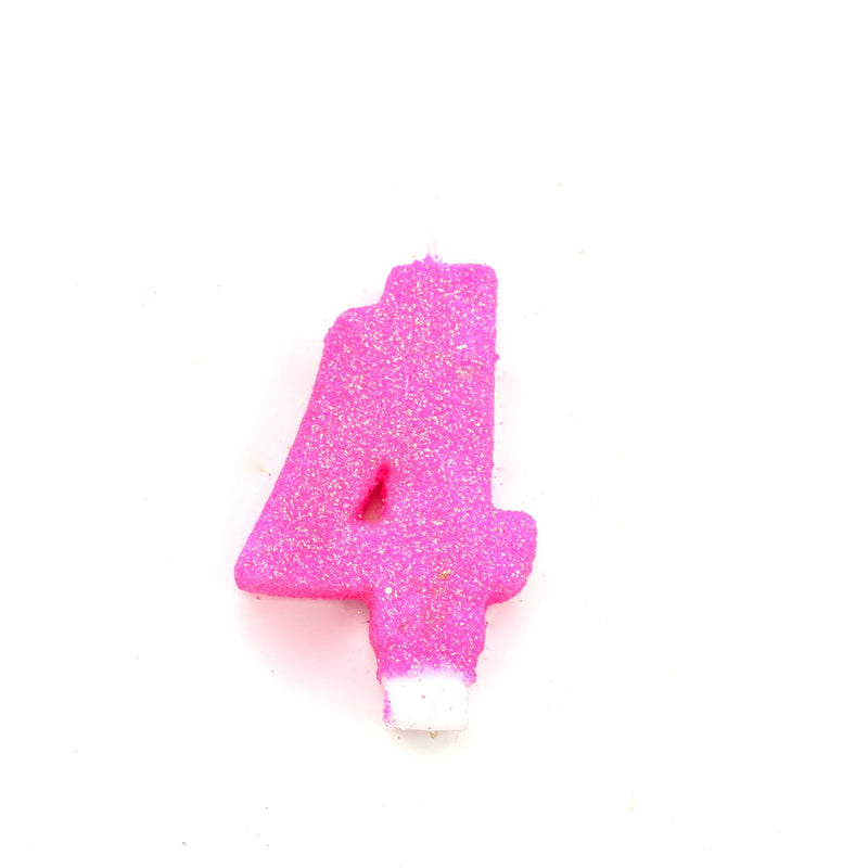 "3"" Hot Pink Number 4 Candle, Glitter Candles, Jamboree"