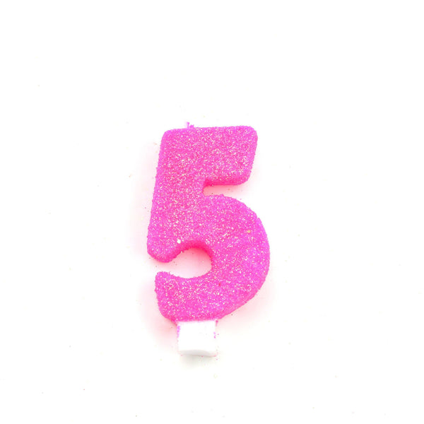 "3"" Hot Pink Number 5 Candle, Glitter Candles, Jamboree Party Box, Jamboree"