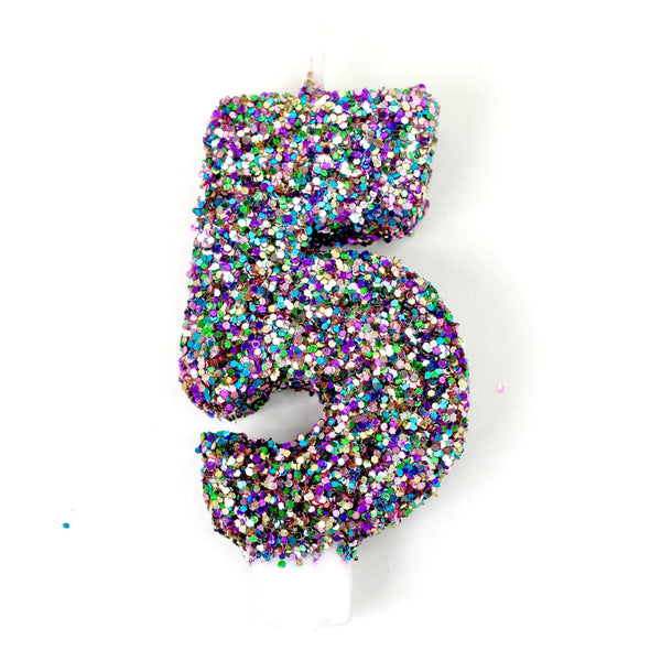 "3"" Mermaid Sparkle Number 5 Candle, Glitter Candles, Jamboree Party Box, Jamboree"