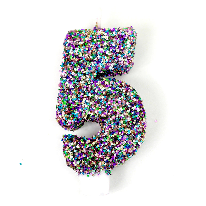 "3"" Mermaid Sparkle Number 5 Candle, Glitter Candles, Jamboree"