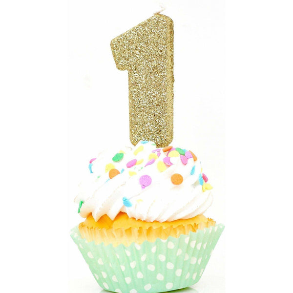 "3"" or 5"" Gold Number 1 Candle, Glitter Candles, Jamboree Party Box, Jamboree"