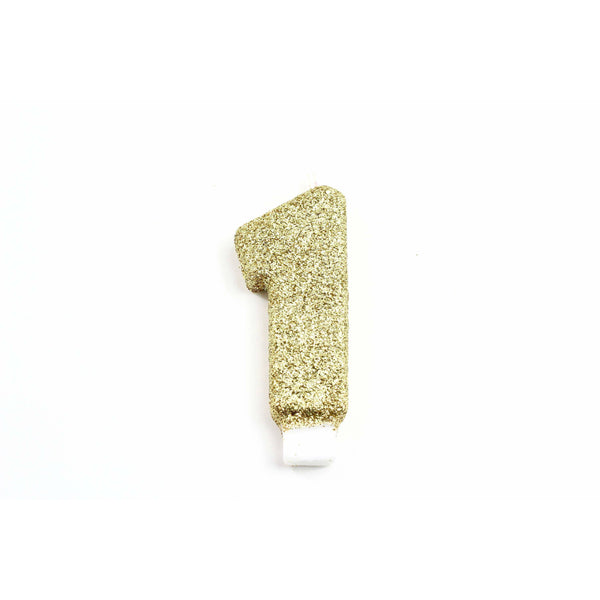 "3"" or 5"" Gold Number 1 Candle, Glitter Candles, Jamboree"