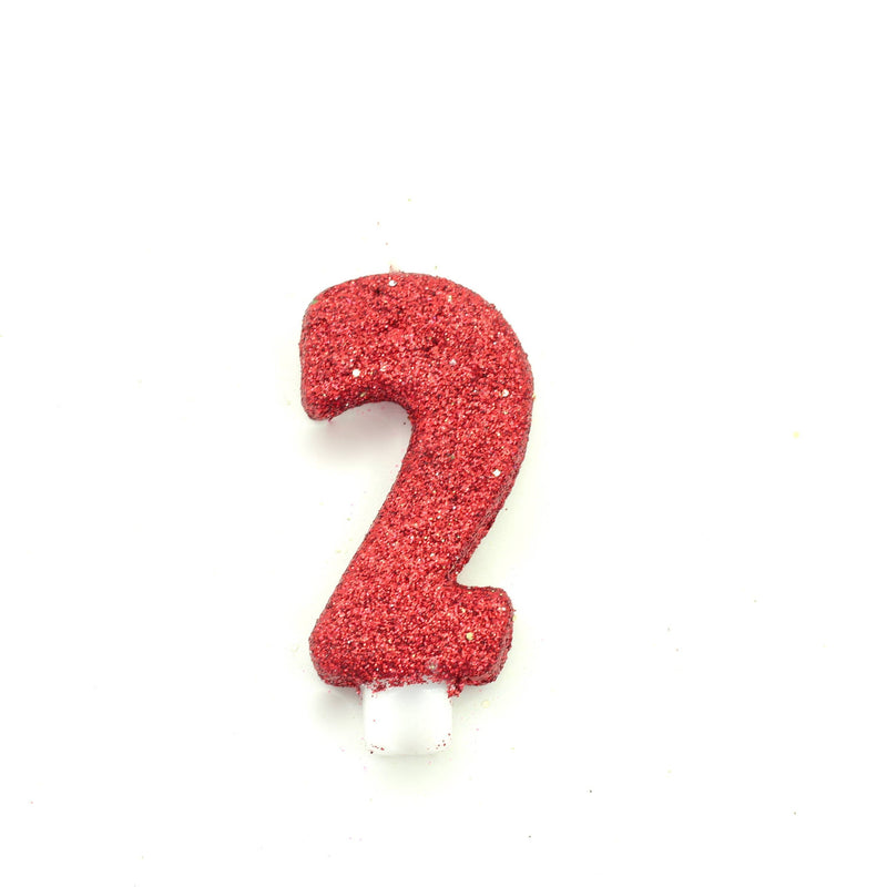 "3"" Red Number 2 Candle, Glitter Candles, Jamboree"