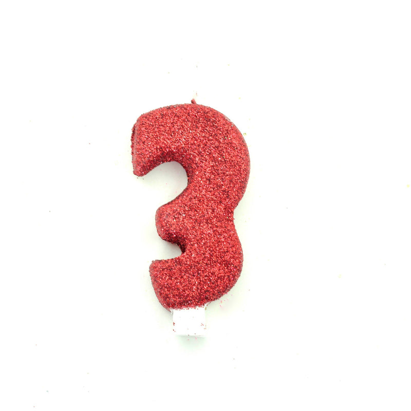 "3"" Red Number 3 Candle, Glitter Candles, Jamboree"
