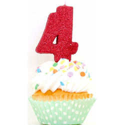 "3"" Red Number 4 Candle, Glitter Candles, Jamboree"