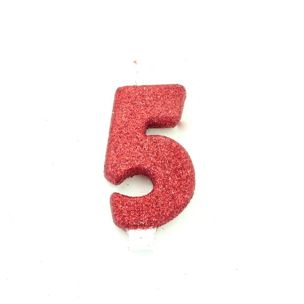 "3"" Red Number 5 Candle, Glitter Candles, Jamboree"