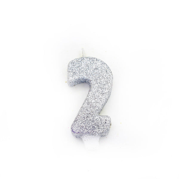 "3"" Silver Number 2 Candle, Glitter Candles, Jamboree Party Box, Jamboree"