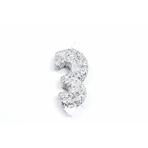 "3"" Silver Number 3 Candle, Glitter Candles, Jamboree"
