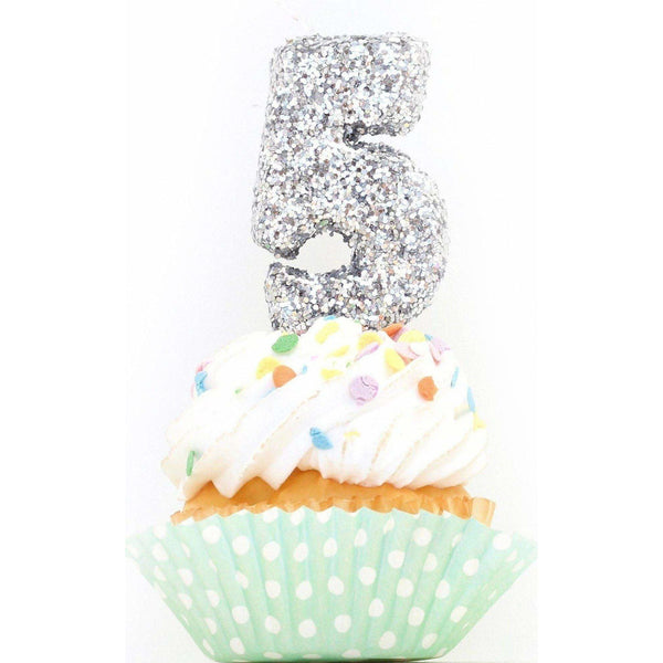 "3"" Silver Number 5 Candle, Glitter Candles, Jamboree Party Box, Jamboree"