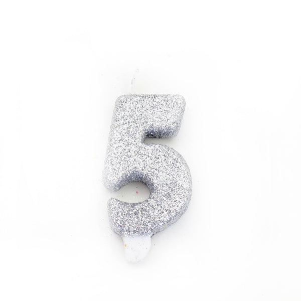 "3"" Silver Number 5 Candle, Glitter Candles, Jamboree"
