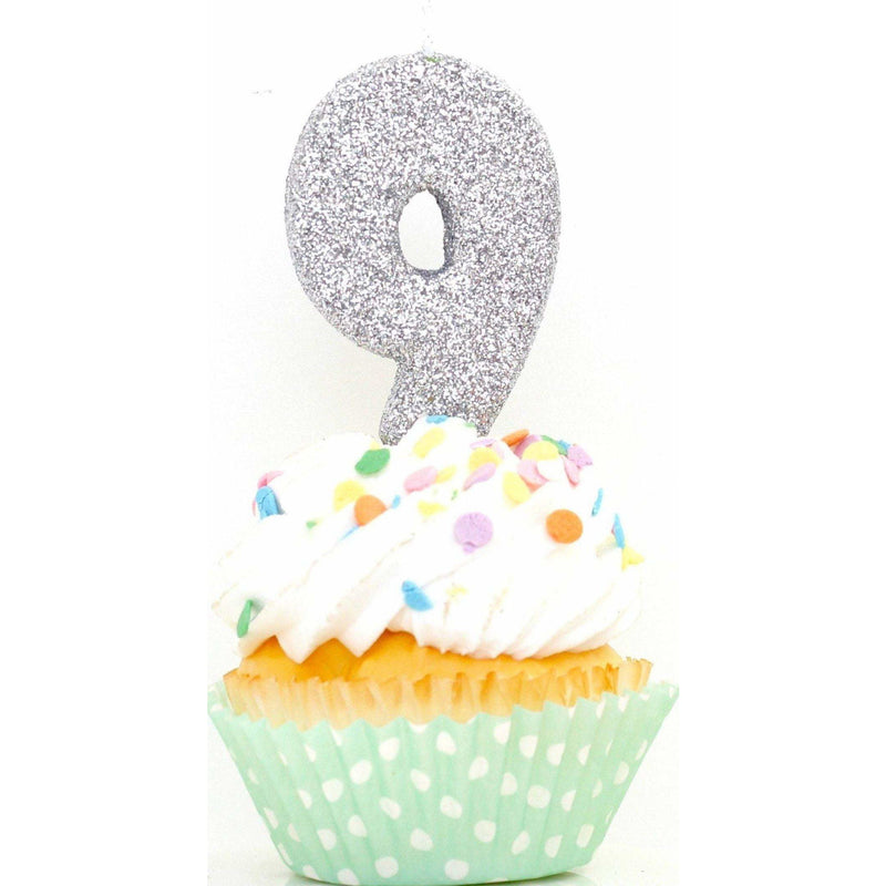 "3"" Silver Number 9 Candle, Glitter Candles, Jamboree Party Box, Jamboree"