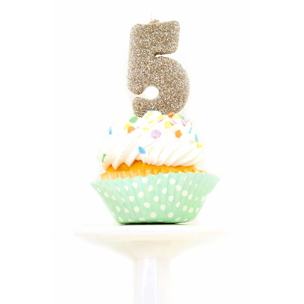 "3"" White Gold Number 5 Candle, Glitter Candles, Jamboree Party Box, Jamboree"