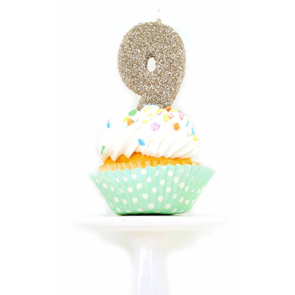 "3"" White Gold Number 9 Candle, Glitter Candles, Jamboree Party Box, Jamboree"