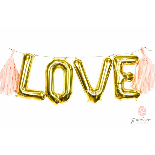 "16"" Gold LOVE Balloon Banner, , Jamboree"