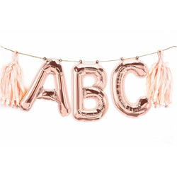 "16"" Custom Rose Gold Balloon Banner-, Decorative Balloons, Jamboree"