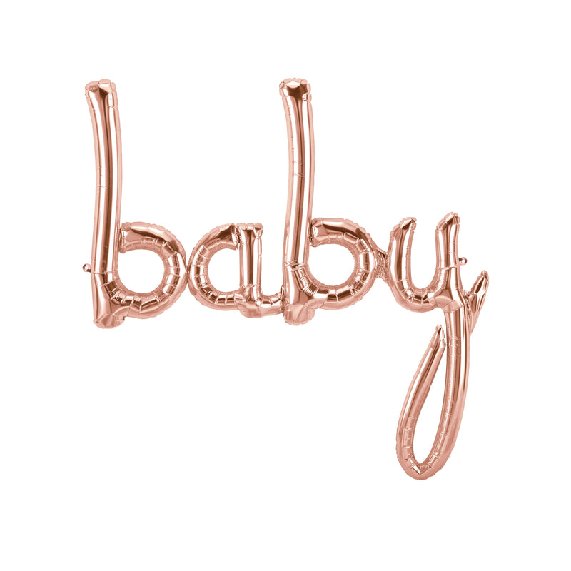 "Large Baby Script Balloon - Rose Gold - 46"" XL - Baby Shower Prop, Giant Baby Balloon, Baby Photo Prop, , Jamboree"