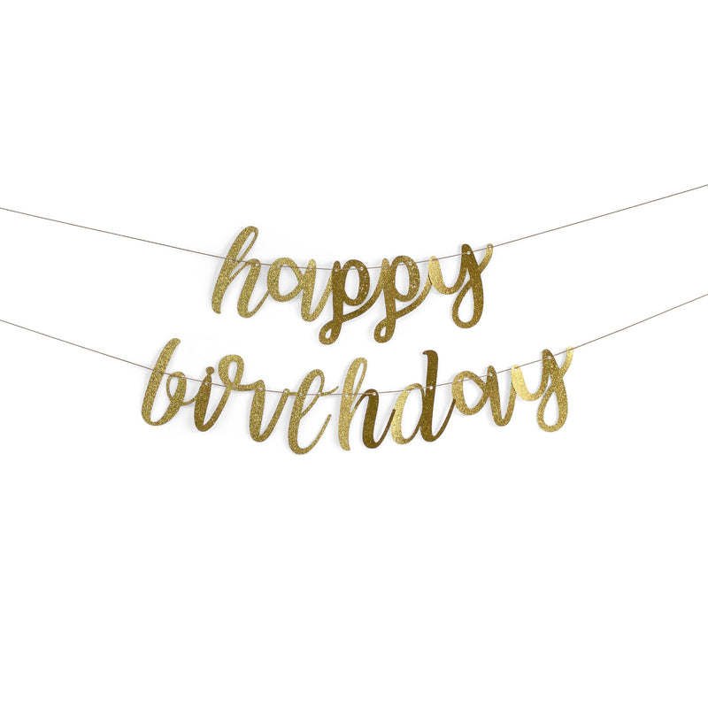 "Gold ""Happy Birthday"" Glitter Script Banner, Banners & Backdrops, Jamboree"