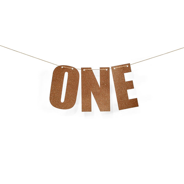"Rose Gold ""ONE"" Glitter Banner, Banners & Backdrops, Jamboree"
