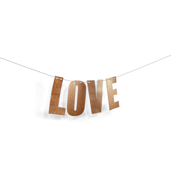 "Rose Gold ""LOVE"" Glitter Banner, Banners & Backdrops, Jamboree"