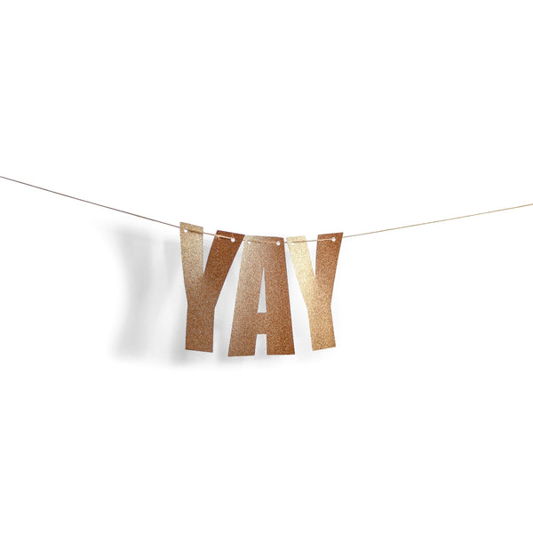 "Rose Gold ""YAY"" Glitter Banner, Banners & Backdrops, Jamboree"
