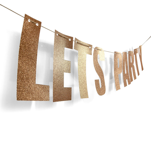 "Rose Gold ""LETS PARTY"" Glitter Banner, Banners & Backdrops, Jamboree"