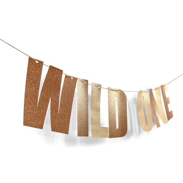 "Rose Gold ""WILD ONE"" Glitter Banner, Banners & Backdrops, Jamboree"