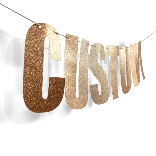 Rose Gold CUSTOM Glitter Banner, Banners & Backdrops, Jamboree