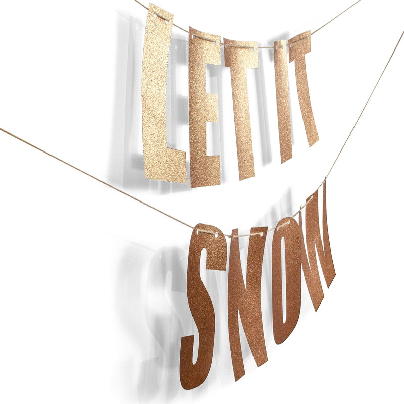 "Rose Gold ""LET IT SNOW"" Glitter Banner, Banners & Backdrops, Jamboree"