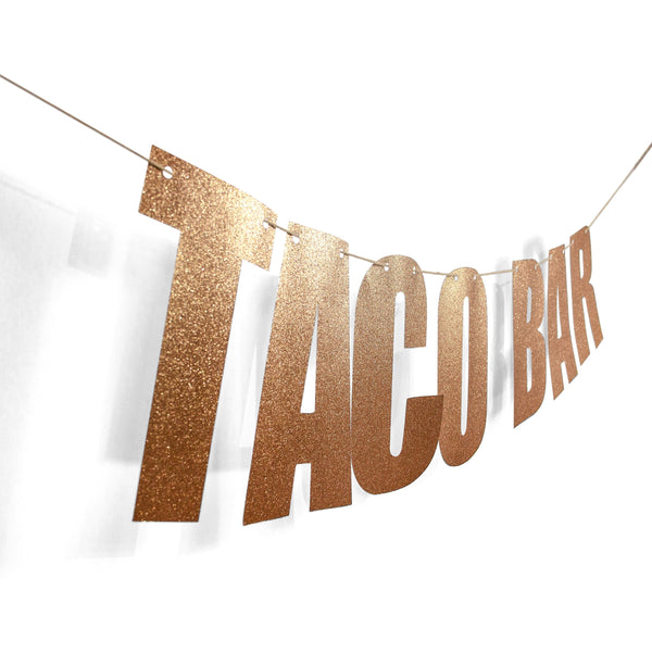 "Rose Gold ""TACO BAR"" Glitter Banner, Decorative Balloons, Jamboree"