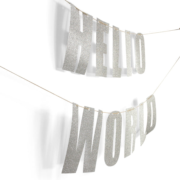 "Silver ""HELLO WORLD"" Glitter Banner, Banners & Backdrops, Jamboree"