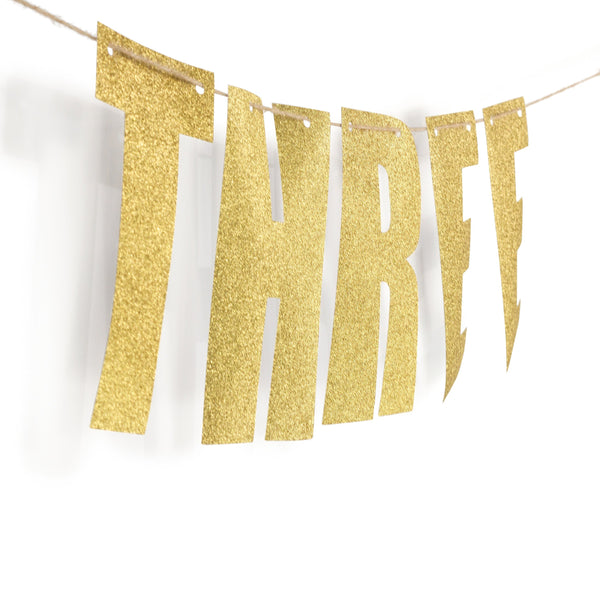 "Gold ""THREE"" Glitter Banner, Banners & Backdrops, Jamboree"