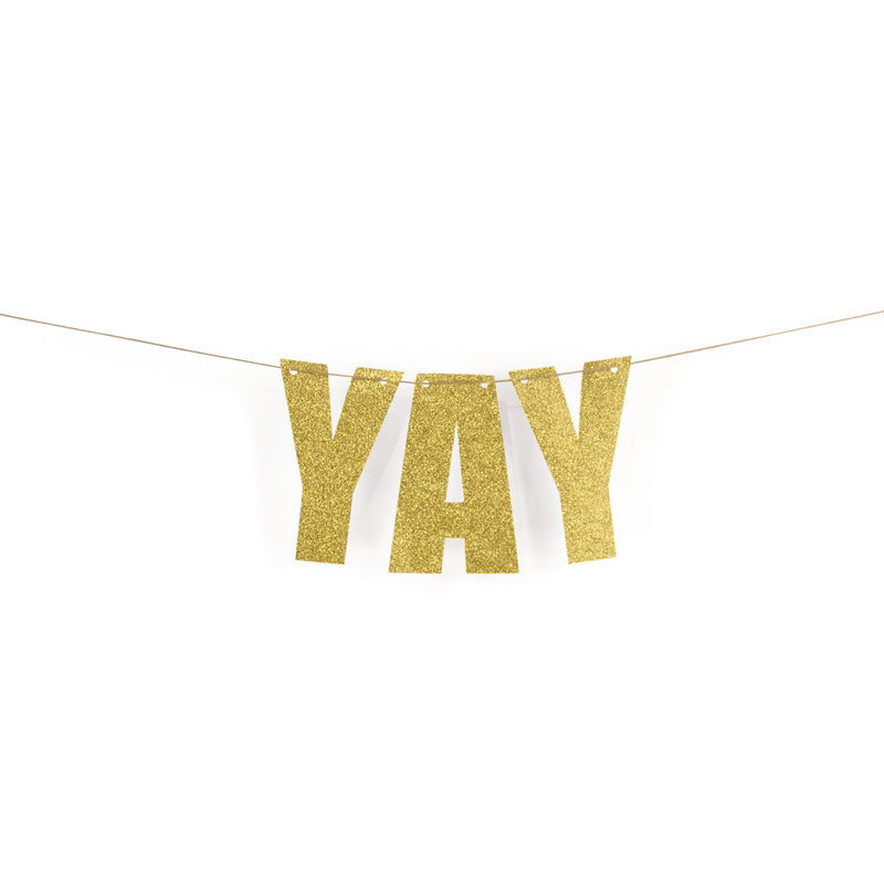 "Gold ""YAY"" Glitter Banner, Banners & Backdrops, Jamboree"
