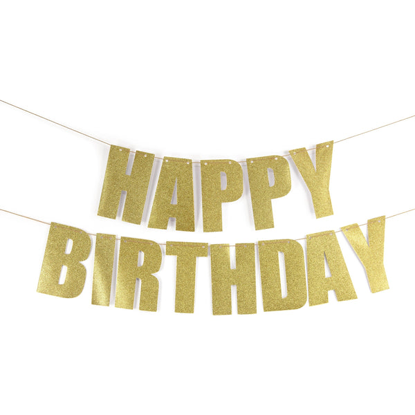 "Gold ""HAPPY BIRTHDAY"" Glitter Banner, Banners & Backdrops, Jamboree"