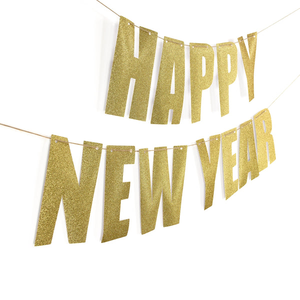 "Gold ""HAPPY NEW YEAR"" Glitter Banner, Banners & Backdrops, Jamboree"