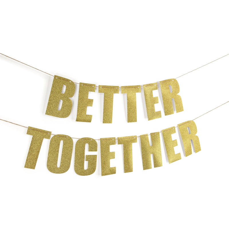 "Gold ""BETTER TOGETHER"" Glitter Banner, Banners & Backdrops, Jamboree"