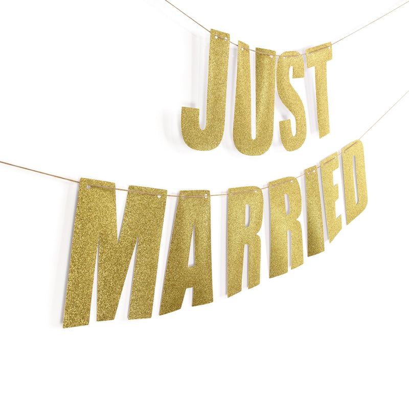 "Gold ""JUST MARRIED"" Glitter Banner, Banners & Backdrops, Jamboree"
