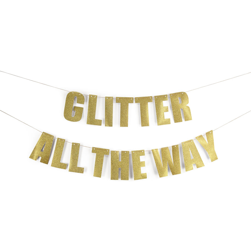 "Gold ""GLITTER ALL THE WAY"" Glitter Banner, Banners & Backdrops, Jamboree"