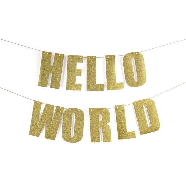 "Gold ""HELLO WORLD"" Glitter Banner, Banners & Backdrops, Jamboree"