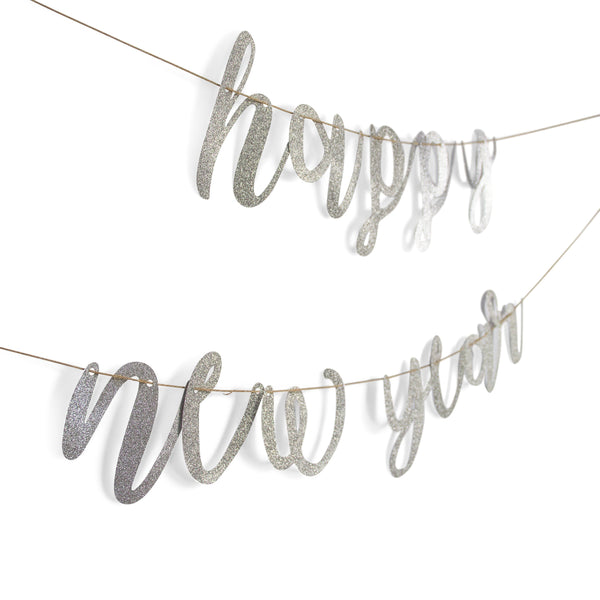 "Silver ""Happy New Year"" Glitter Script Banner, Banners & Backdrops, Jamboree"