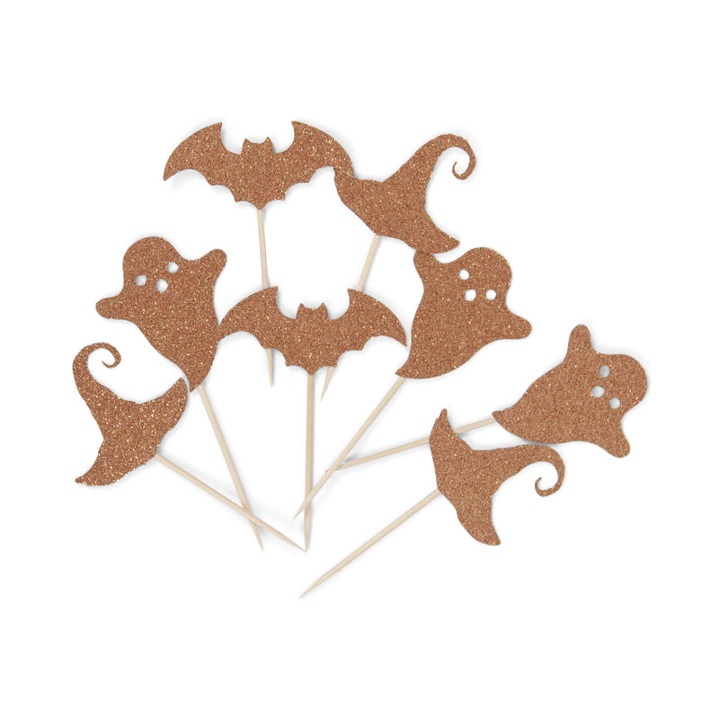 Halloween Variety Rose Gold Glitter Toppers, Rose Gold Ghost Toothpicks, Rose Gold Party Decor, Food Decoration, Witch Hat, Bat, Fall Decor