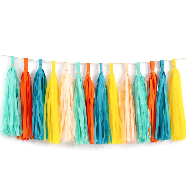 Retro Carousel Tassels, Baby Shower Decor, Table Decor, Confetti Balloon, Retro Birthday, Bridal Shower, Wedding Tropical, Mint Teal Yellow