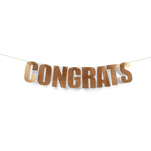"Rose Gold ""CONGRATS"" Glitter Banner, Banners & Backdrops, Jamboree"