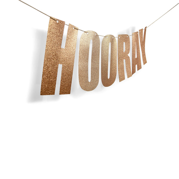"Rose Gold ""HOORAY"" Glitter Banner, Banners & Backdrops, Jamboree"