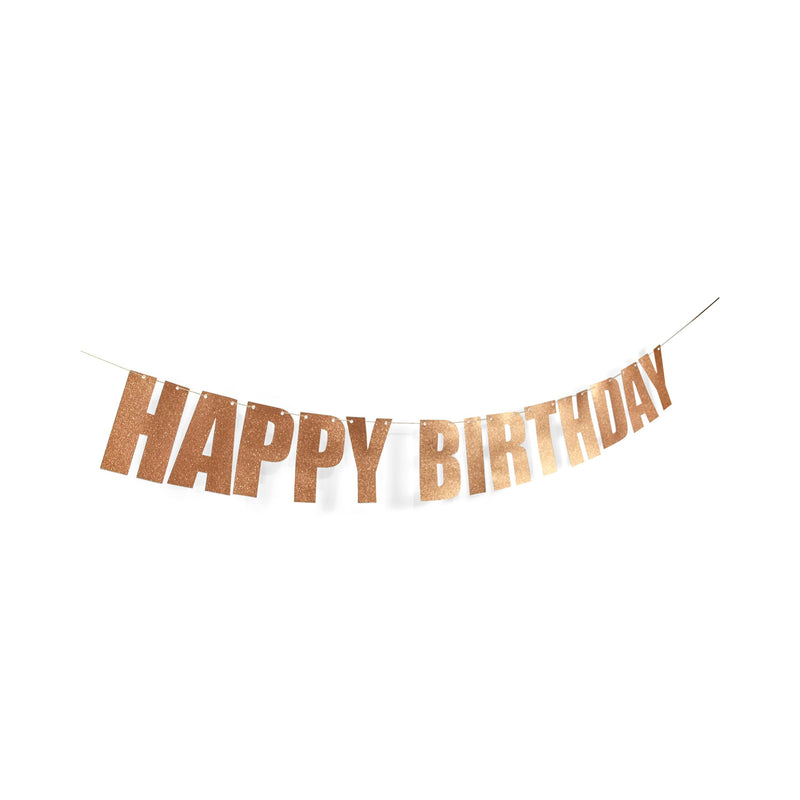 "Rose Gold ""Happy Birthday"" Glitter Banner, Banners & Backdrops, Jamboree"